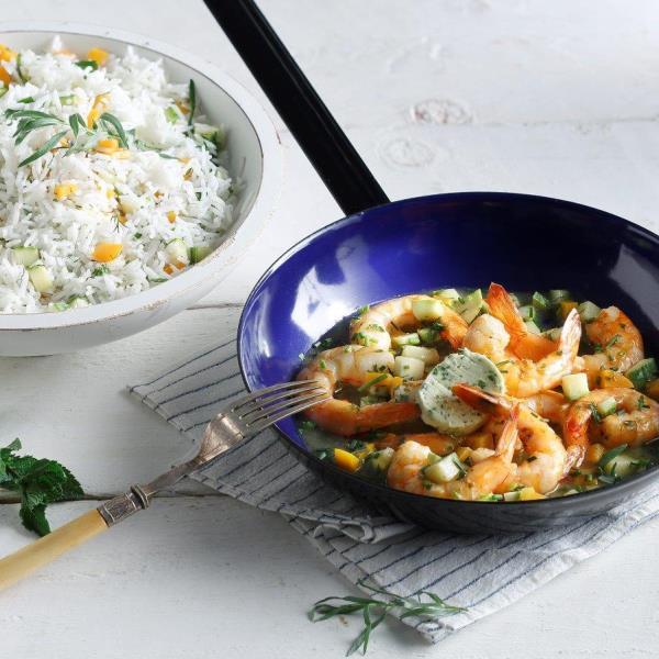 Γαριδες σοτε με ρυζι μπασματι και αρωματικο βουτυρο